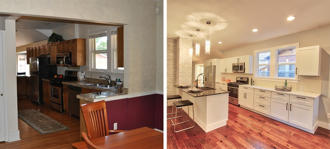 Congress Park Before After Kitchen View