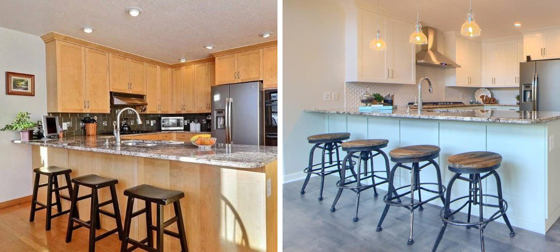 Before and after image of kitchen interior design in Denver, CO by MARGARITA BRAVO